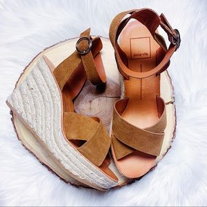 Dolce Vita Brown Suede Espadrille Wedges NEW $80